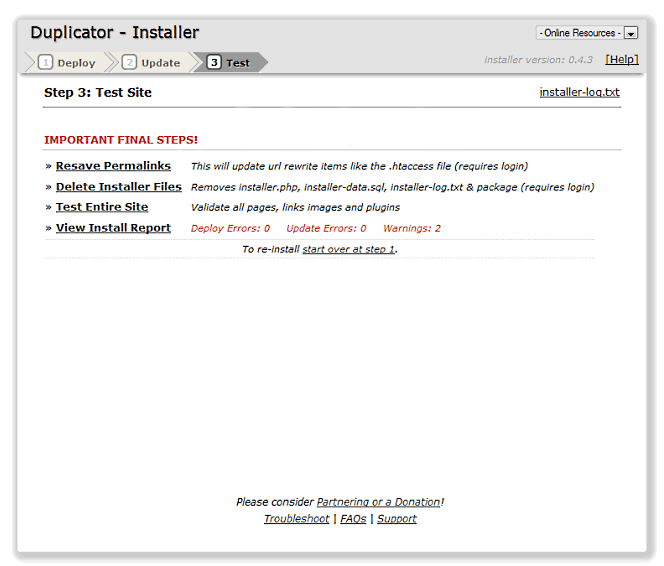 wordpress duplicator 3 de 3
